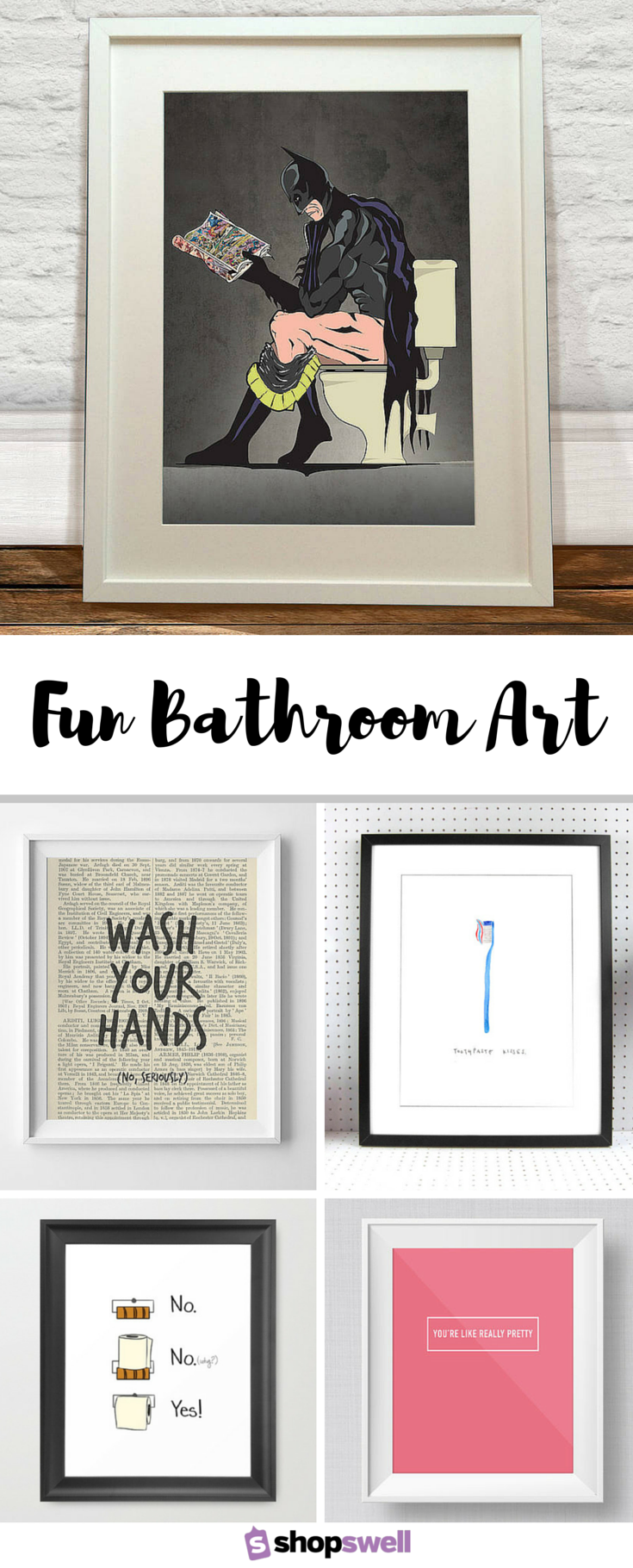 Fun bathroom art walls printing and bathroom art