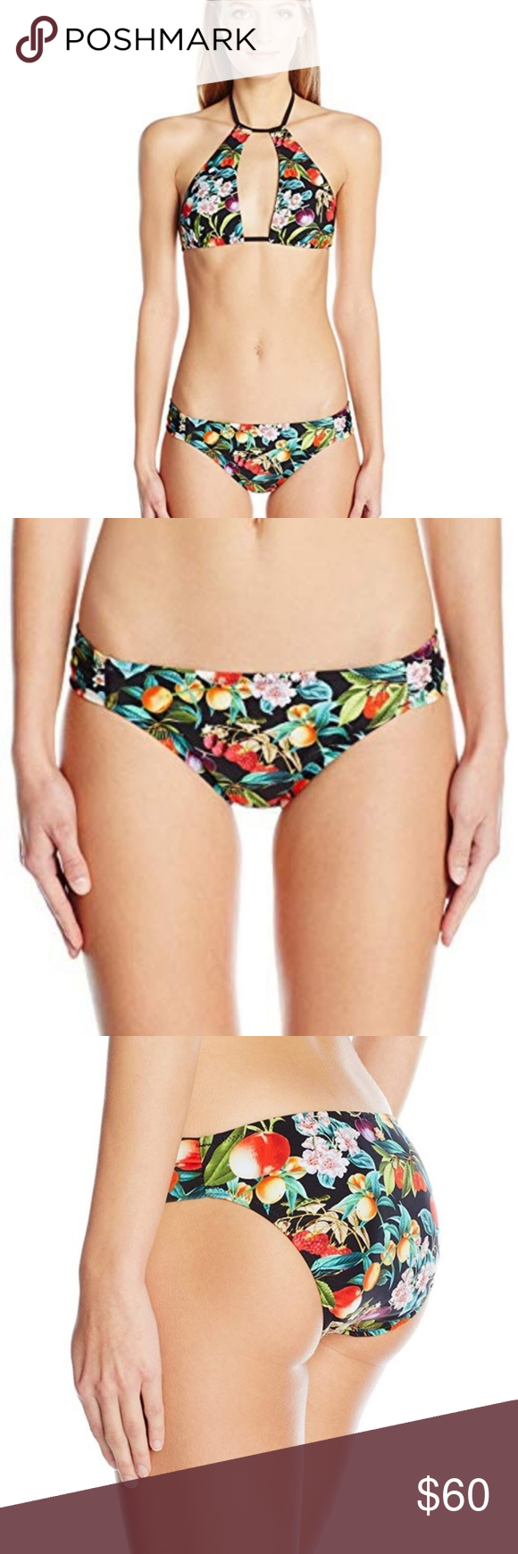 Nanette Lepore Amor Atitlan Siren Bikini Bottom Nanette lepore. Color/pattern: black knit bikini bottom. Graphic print waistband and cuffs. Tonal top stitching and panel seaming. Nanette Lepore Swim Bikinis