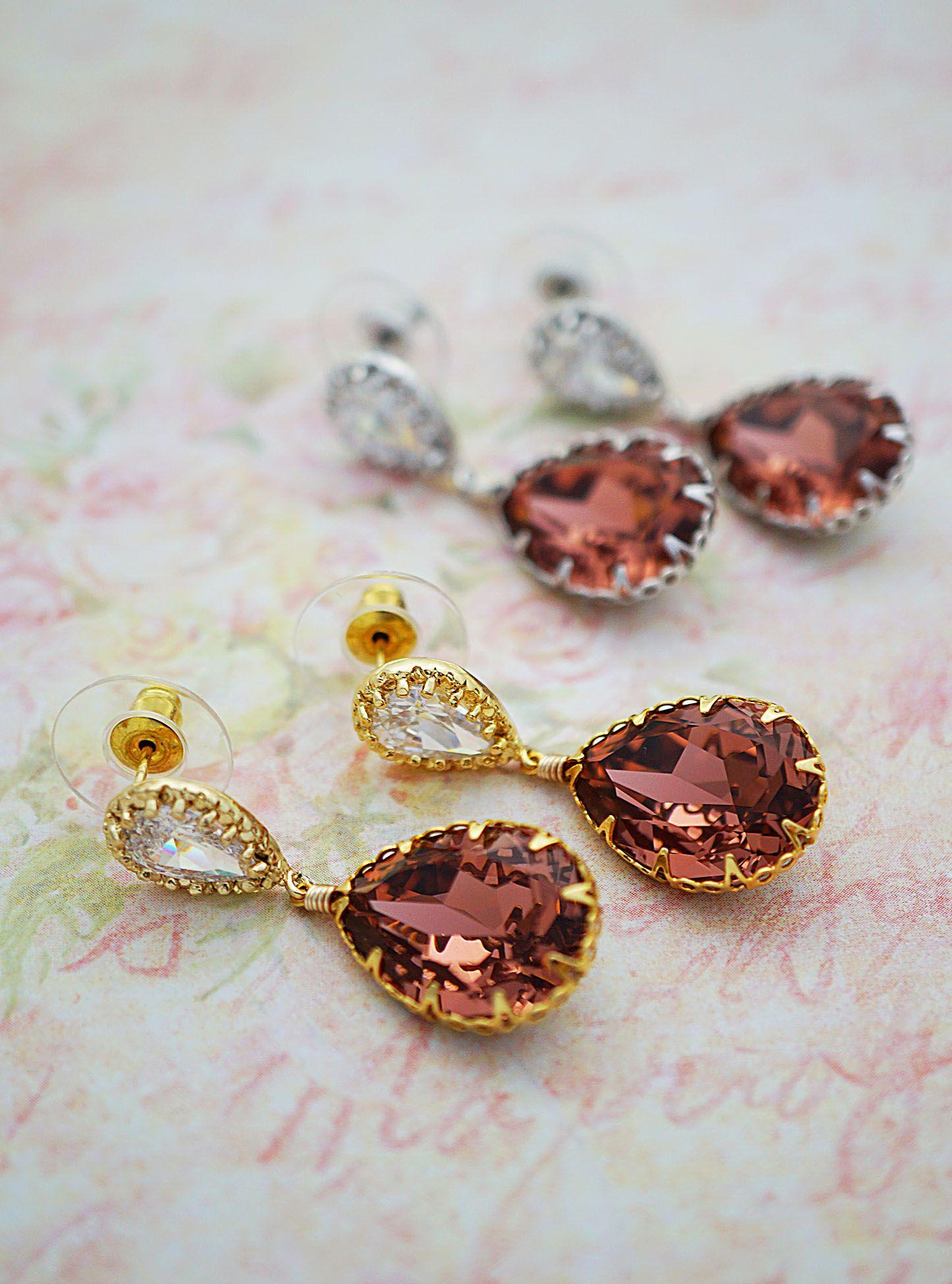 546b6e73e Blush Rose Swarovski Crystal Earrings from EarringsNation Cranberry  weddings Burgandy Weddings Marsala Weddings Blush pink weddings