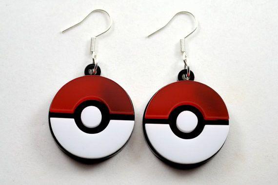 Pokemon Pokeball Laser Cut Acrylic Earrings