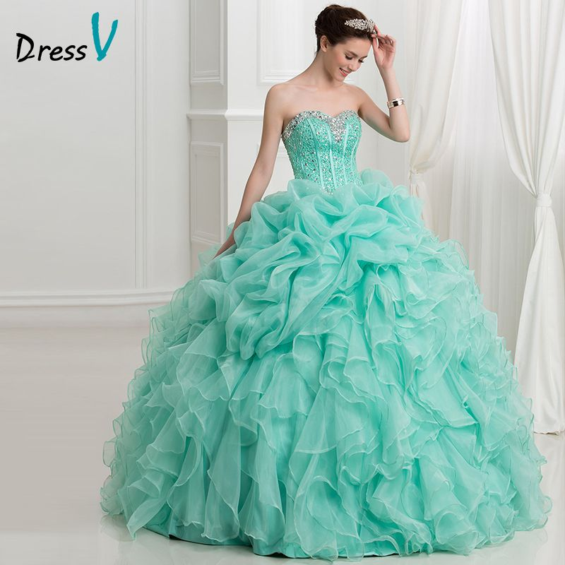a4cf80a2b2b Dressv Mint Green Ball Gown Puffy Quinceanera Dresses 2016 New Ruffles  Organza Princess Sweetheart lace up quinceanera dress
