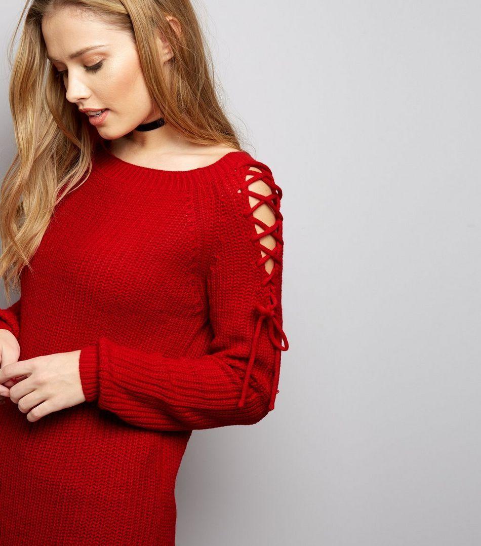 Red lace up shoulder jumper red lace jumper and shoulder