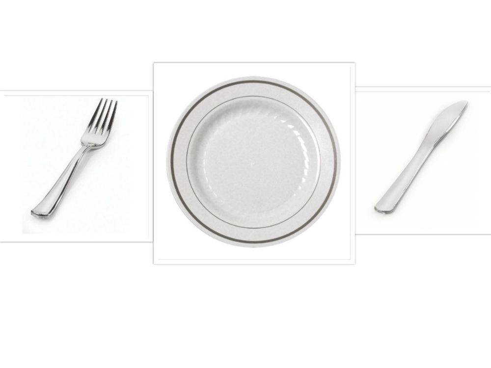 China Disposable Plastic Plates White W Silver Trim Cutlery Wedding Reception SilverSplendor