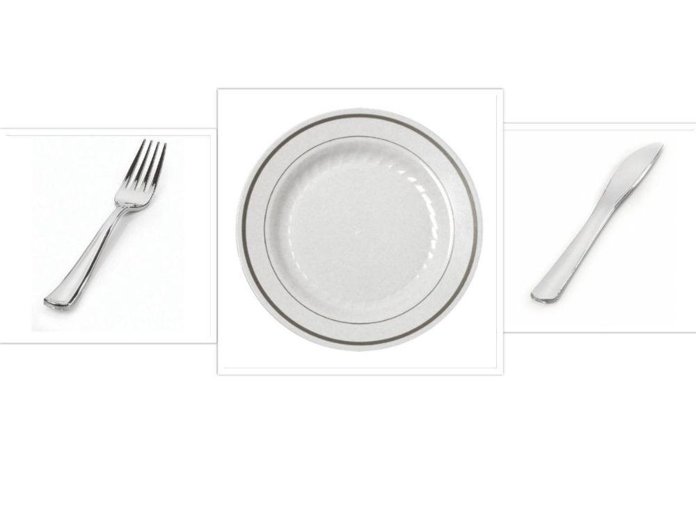 China Disposable Plastic Plates White w/Silver Trim + Cutlery Wedding Reception #SilverSplendor #  sc 1 st  Pinterest & China Disposable Plastic Plates White w/Silver Trim + Cutlery ...