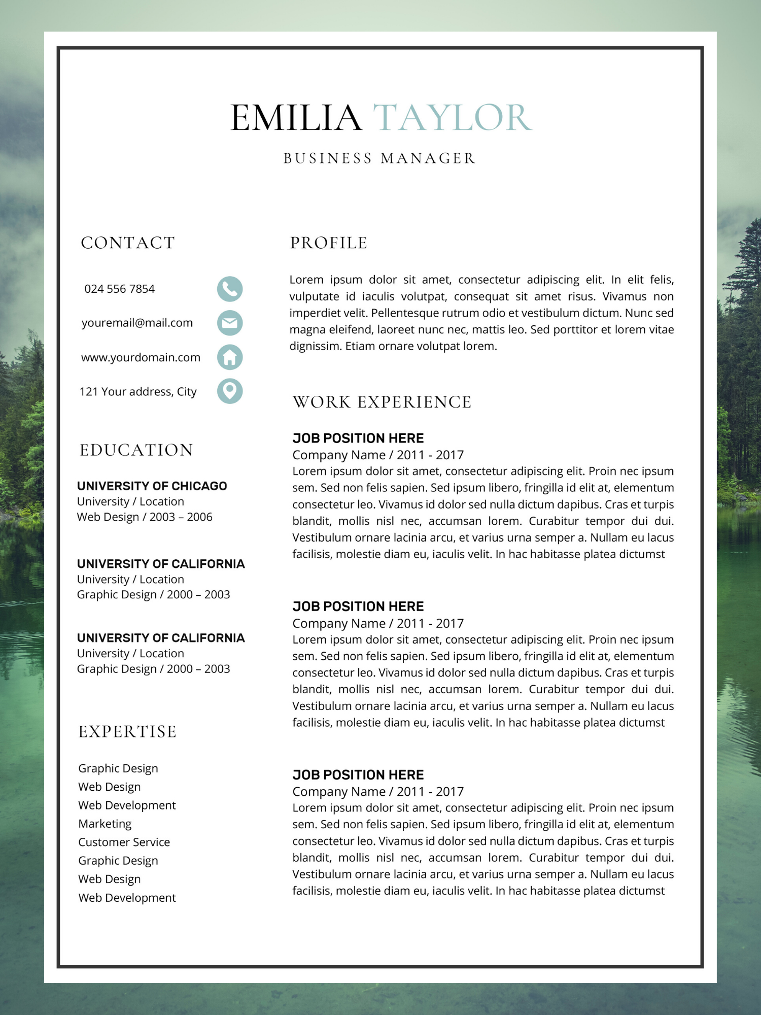 Business Resume Template Resume Template Emilia Taylor