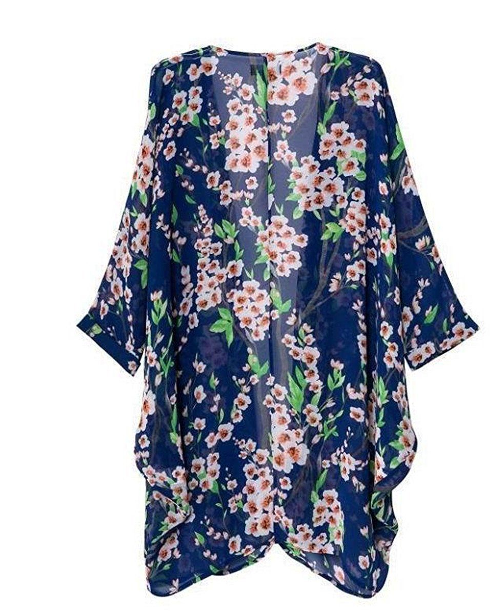 Akery Women's Floral Chiffon Kimono Cardigan Blouse Beach Cover up ...