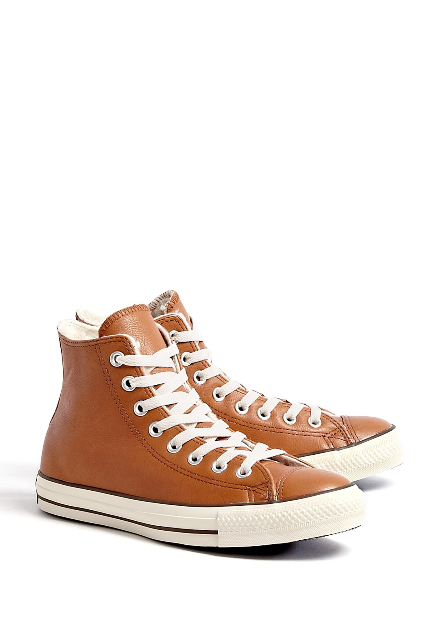 155d9b59d725 Tan Leather Chuck Taylor All Star High Tops by Converse