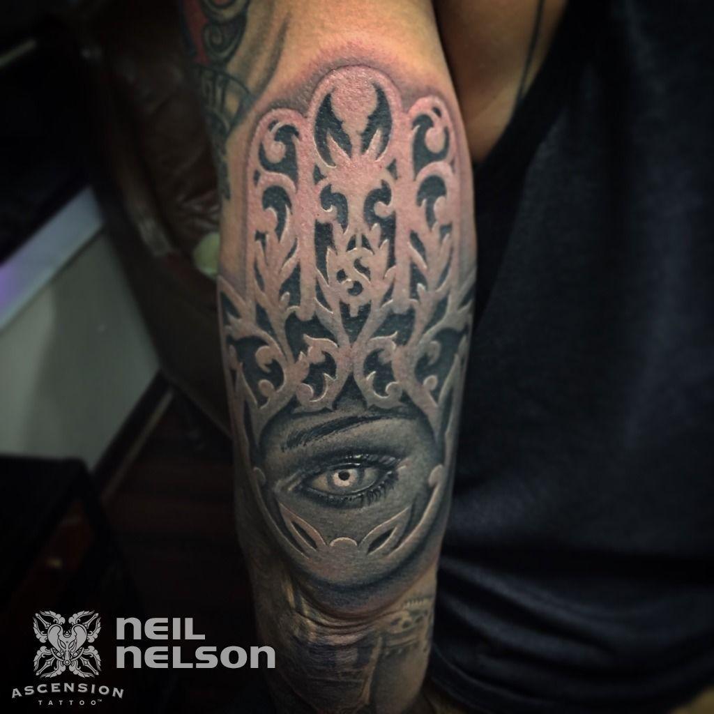 Black and grey hamsa tattoo by neil nelson orlando fl