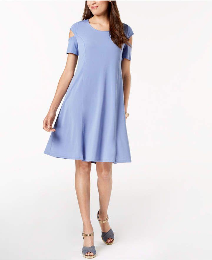 4875dac73cc Ny Collection Petite Cutout-Sleeve Dress - Blue P XS