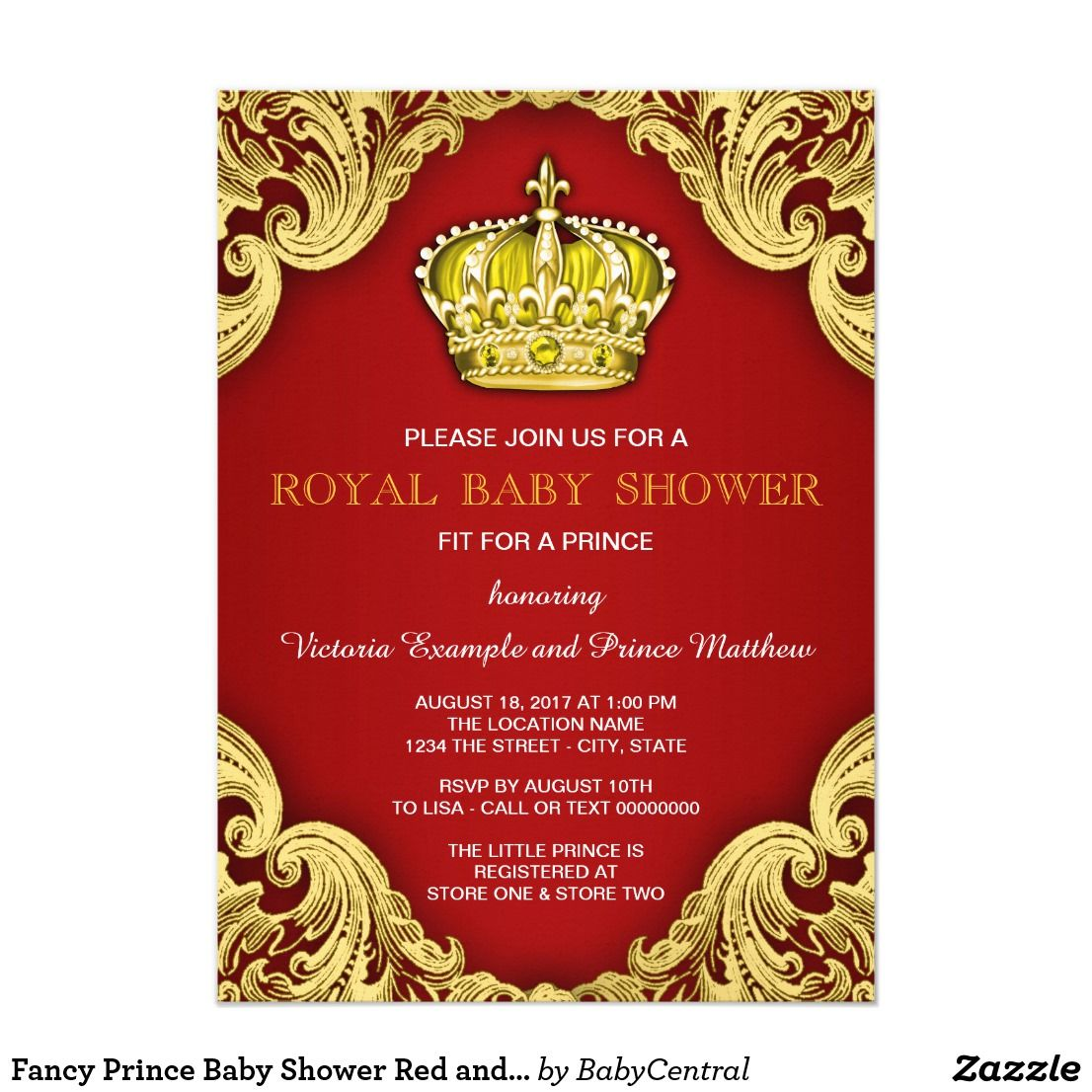 Fancy Prince Baby Shower Red and Gold Invitation | Fancy, Babies and ...