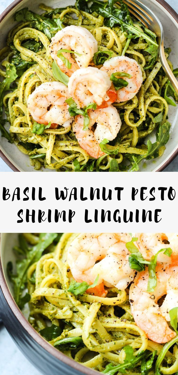 This Basil Walnut Pesto Linguine pasta is served with shrimp and arugula You will love this simple healthy and 30minute weeknight dinner Dairyfree with glutenfree option...