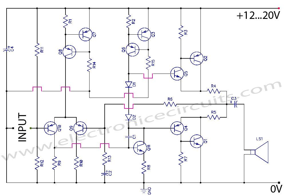 Discrete Class AB Transistor Audio Power Amplifier Circuit Diagram