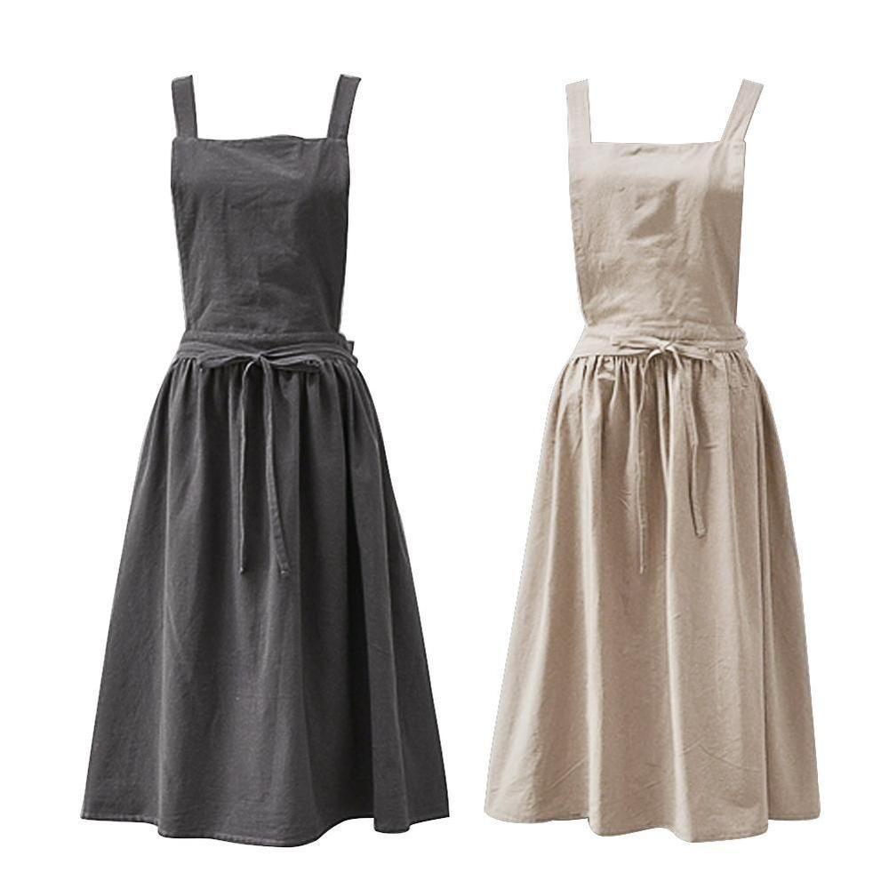b1069865d5 UK Women Bib Dress Apron Sleeveless Cotton Linen Pinafore for Cooking  Florist