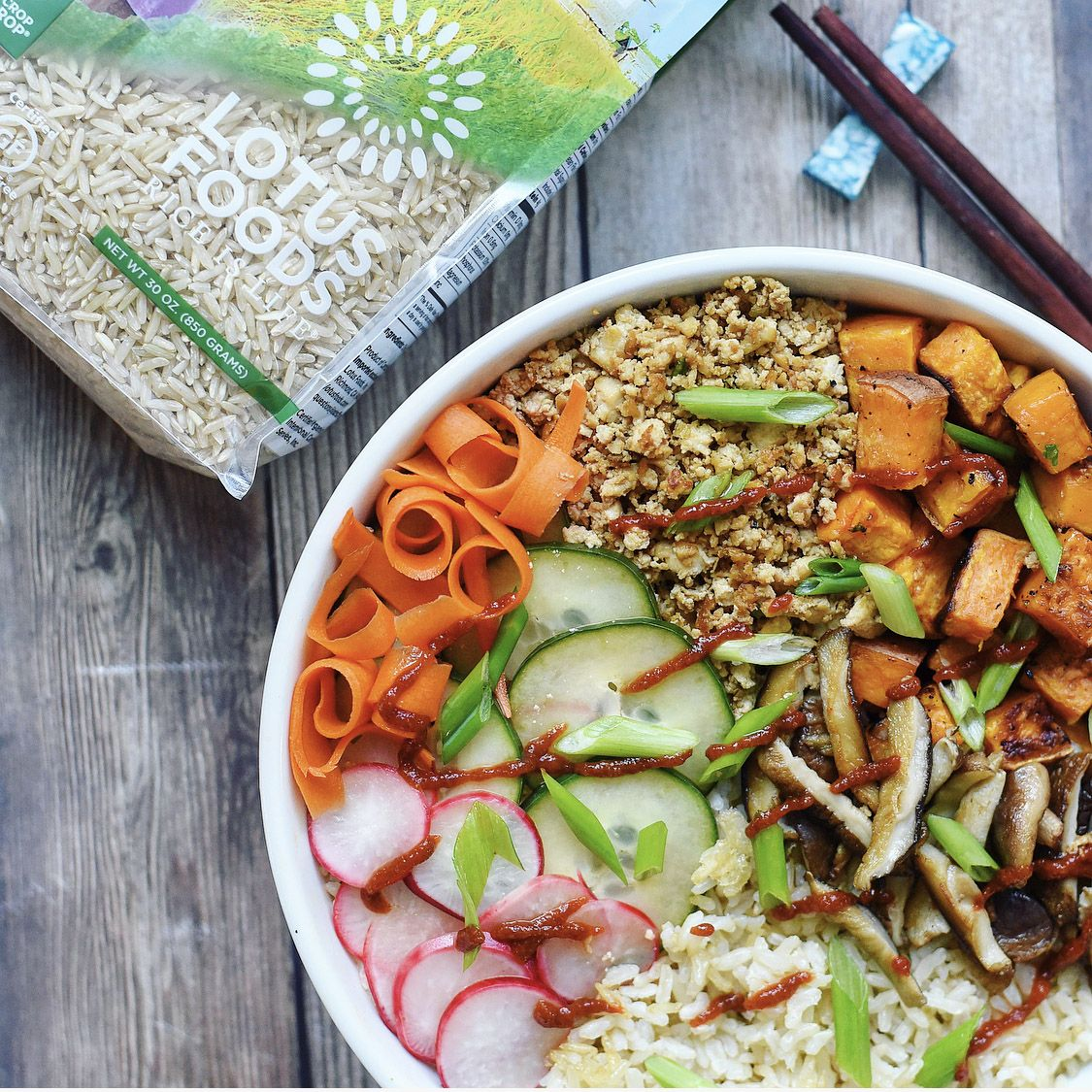 Vegan Bibimbap Bowl With Korean Tofu Crumble Pickled Vegetables