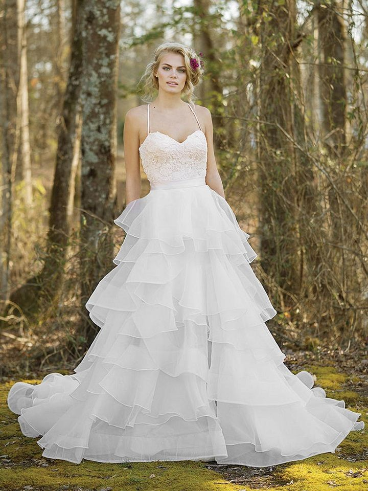 Lace Mini Dress with Open Back and Tiered Chiffon Detachable Skirt | itakeyou.co.uk #weddingdress #weddingdresses