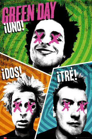 1art1 63206 Green Day Poster - Uno! Dos! Tre!, 91 x 61 cm