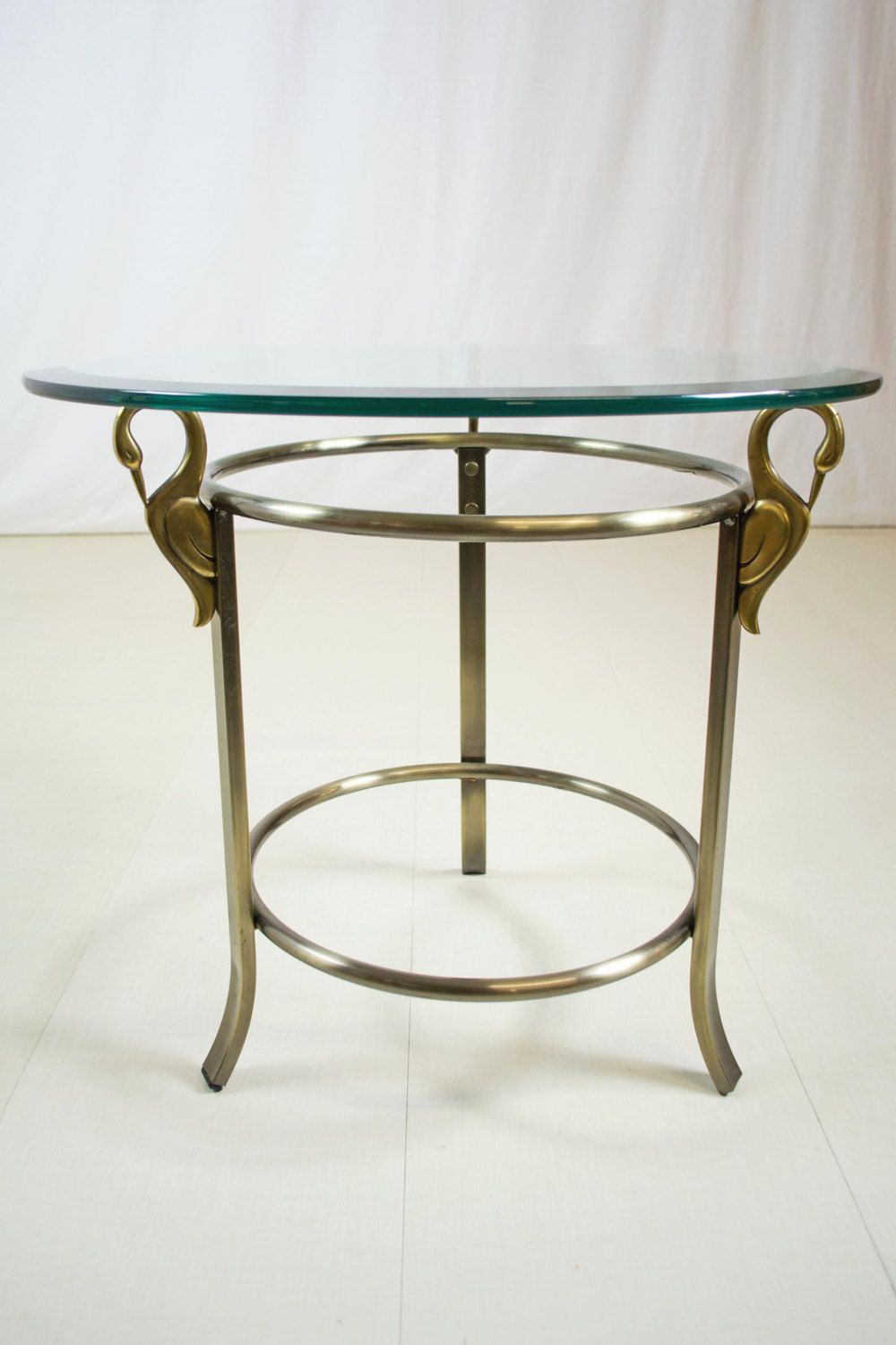 Dia Brass Glass Swan Side Table Mid Century Tables Table Glass