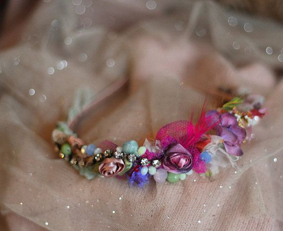Museembroidered and beaded headband with vintage by FleursBoheme