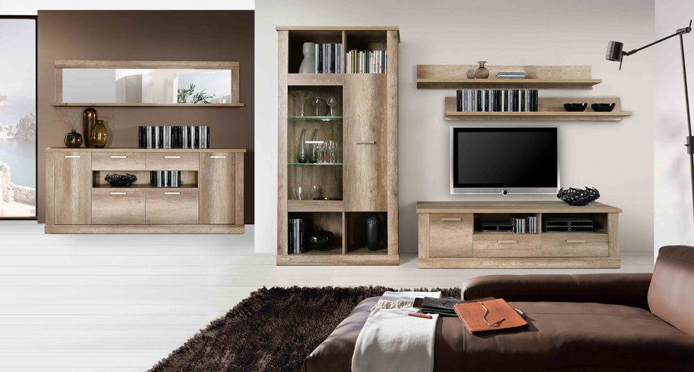 Aparador y mueble de sal n para tv con vitrina expositora for Muebles de salon con luz led