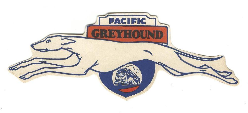 Vintage Luggage Label Decal Pacific Greyhound Bus Lines Unused