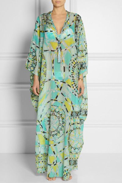 a66db1c5adca2 Cotton Kaftans | Emilio Pucci Printed Cotton and Silkvoile Kaftan in Blue |  Lyst