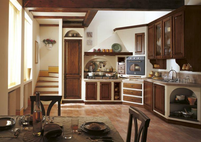 arredamento-per-piccole-cucine-in-muratura-in-legno-scuro-struttura ...