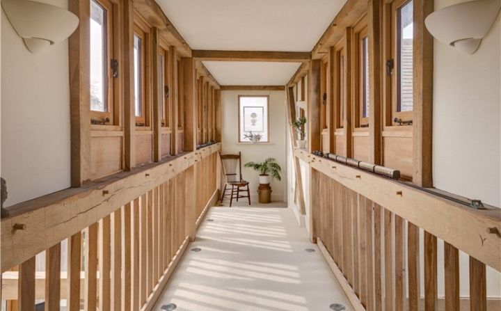 Stunning bridge inside oak frame house with clerestory windows by ...