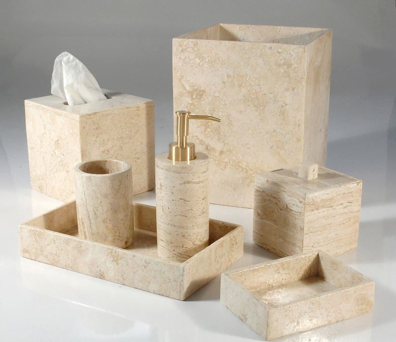 Marble Travertine Bathroom Sets   Mike And Ally Palazzo. This Travertine  Marble Bath And Vanity Collection Wastebaskets, Soap Dishes, Pump  Dispensers.