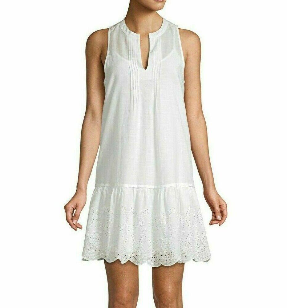New Vineyard Vines Size M White Dress Pintuck Eyelet Sleeveless Coverup Vineyardvines Coverup White Dress Dresses New Vineyard [ 1000 x 932 Pixel ]