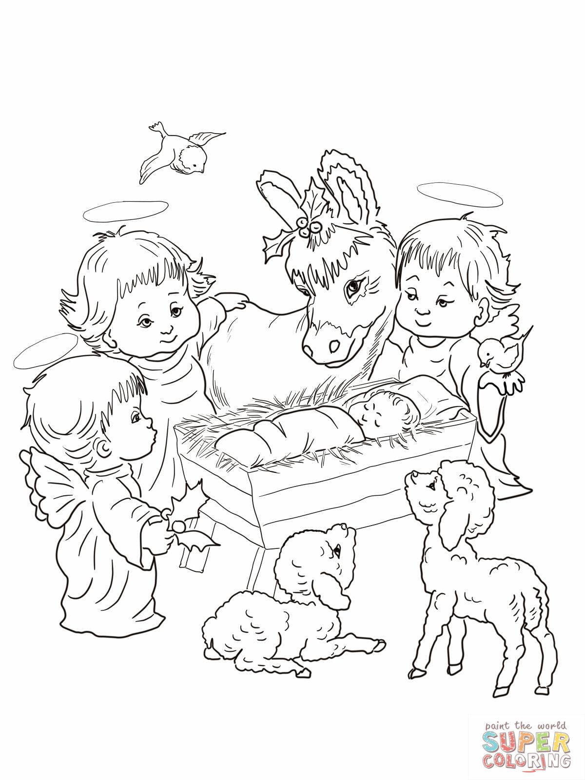 Coloring pictures of nativity scene yahoo search results for Nativity animals coloring pages