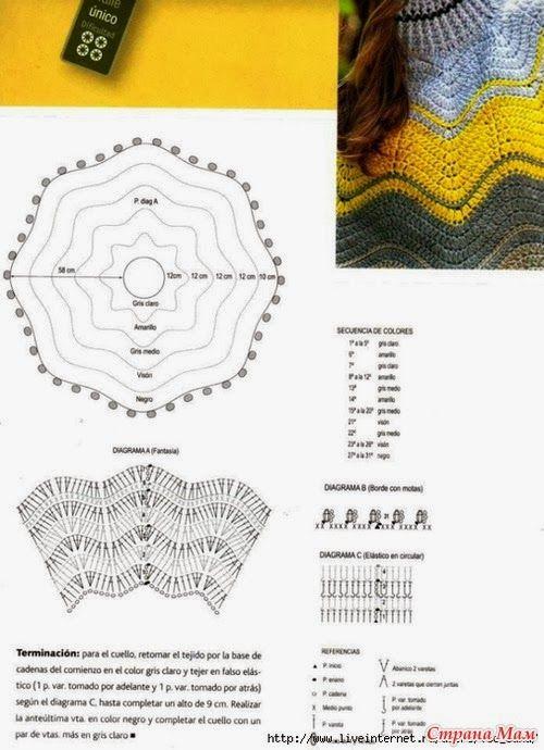 Maravilhas do Crochê: Pontos e Roupas com ponto Zig Zag | Tejidos ...