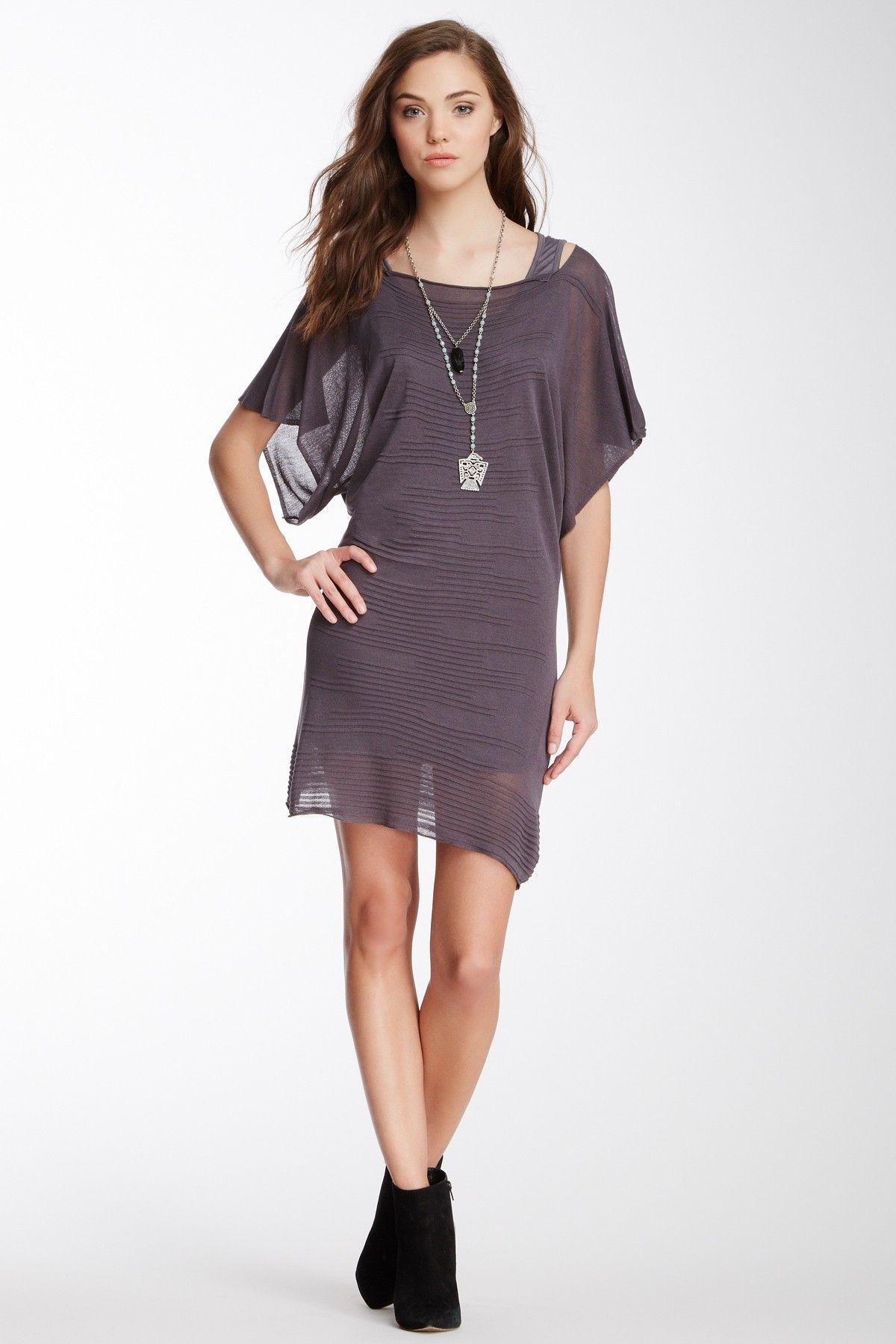 Tunic Inset Sheer Sweater Dress