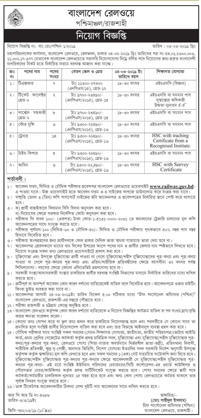 Bangladesh Railway Job Circular 2019 (With images) Job
