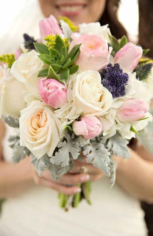 My February Rustic Wedding Bouquet Green Succulent Pink Tulip Peony Peonies White Roses Yellow Solid