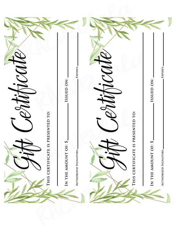 2900d70cdadef Greenery Printable Gift Certificate template, Christmas, Birthday ...