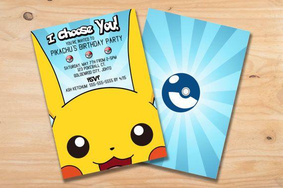 Custom Pikachu Pokemon Birthday Party Invitation Card 5x7 Or 4x6
