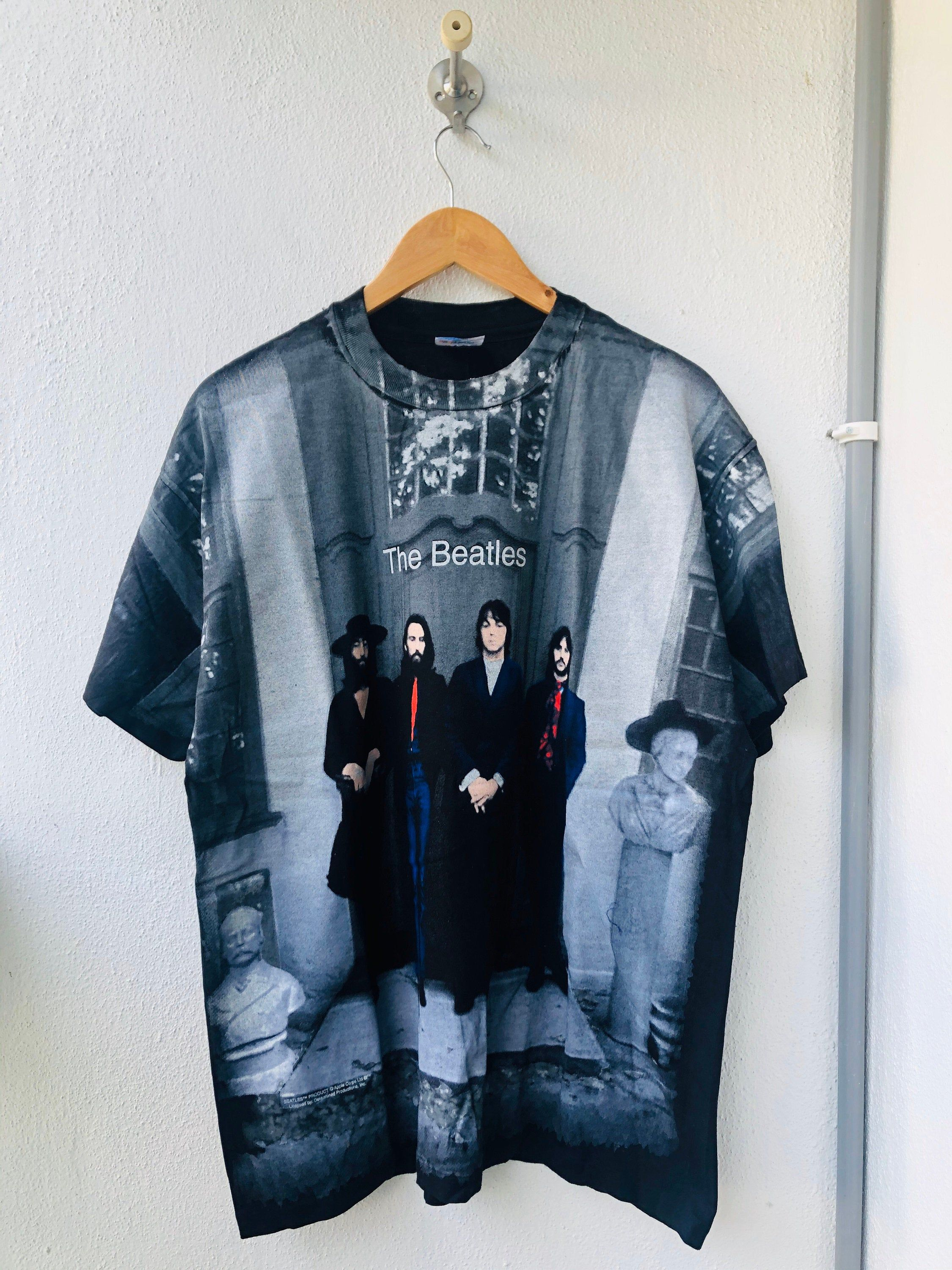 Vintage Original 90s The Beatles All Over Printed Design Etsy Band Tshirts Shirts Used Clothing