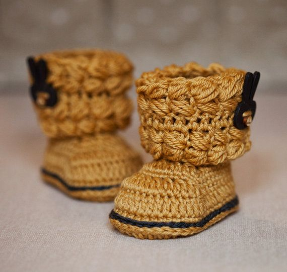 Crochet PATTERN for baby booties - Easy Cable Boots | Crochet ...