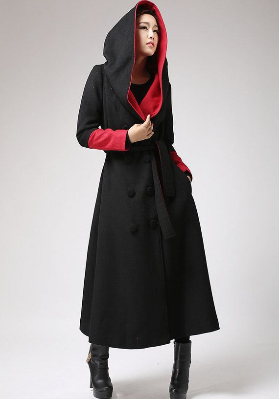 ffe81c88a75 oversized coat, Long wool coat, Black and Red, trench coat, long coat women,  hooded coat, designer clothing, wool jacket, gift for her 0700#