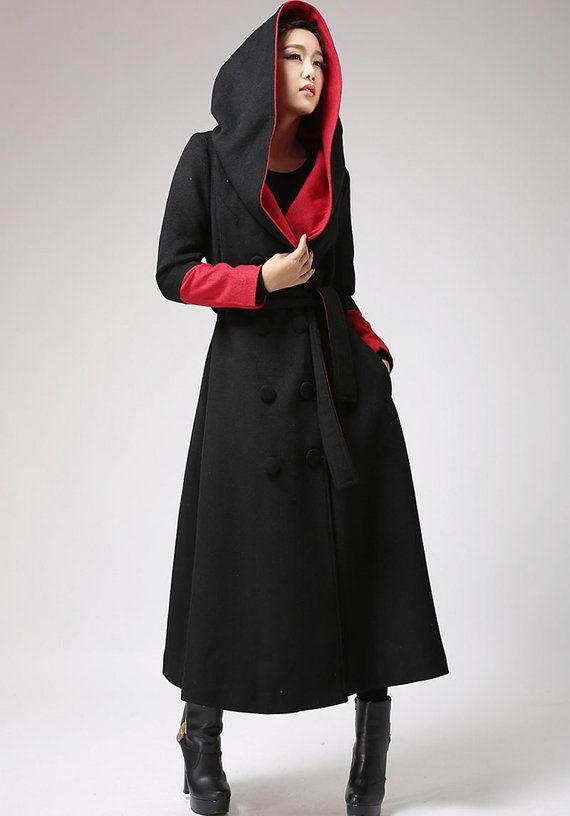 oversized coat, Long wool coat, Black and Red, trench coat, long coat  women, hooded coat, designer clothing, wool jacket, gift for her 700. Maxi  CoatWinter ...