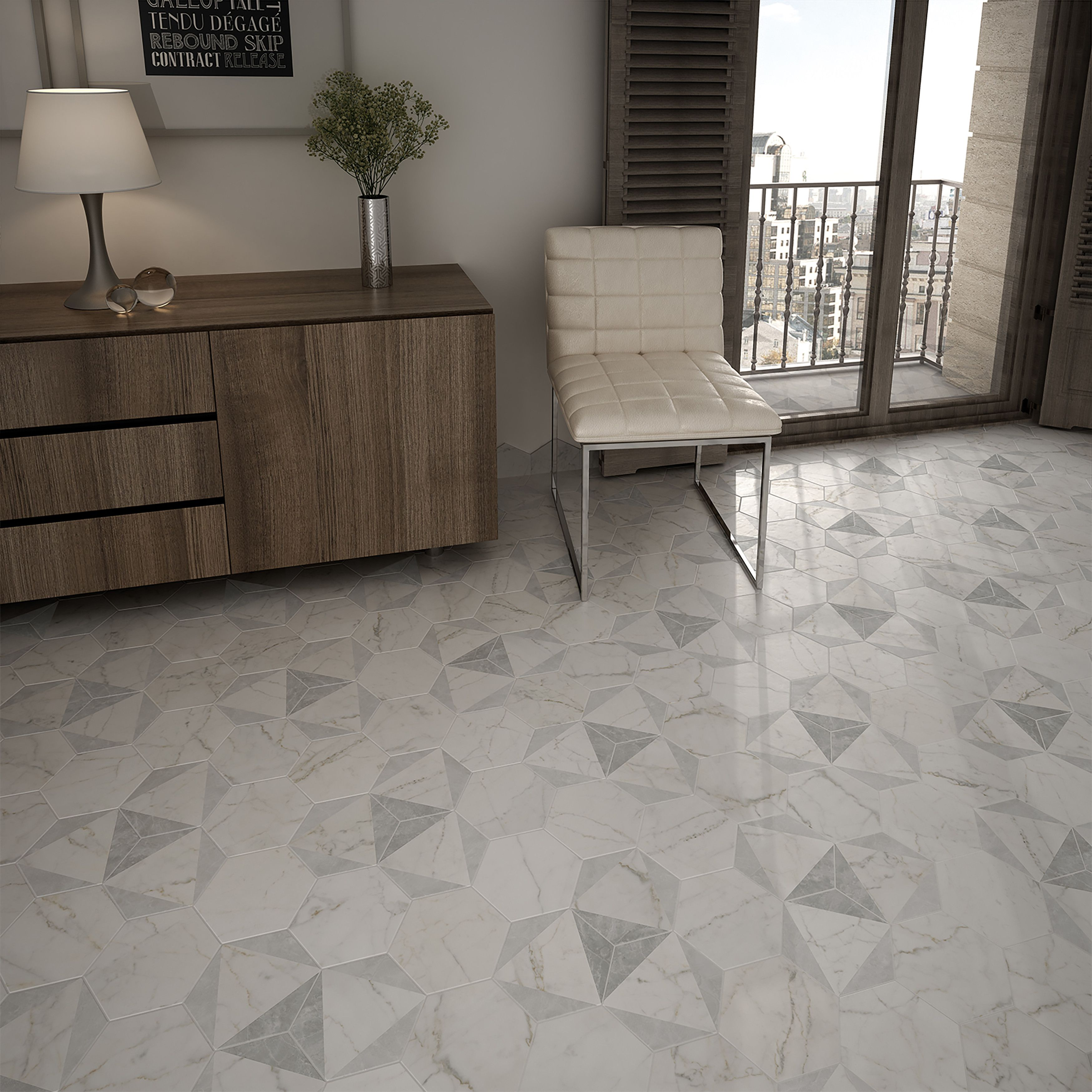 Elitetile karra 7 x 8 hexagon porcelain field tile tile somertile carra hexagon peak porcelain floor and wall tile sqft dailygadgetfo Image collections