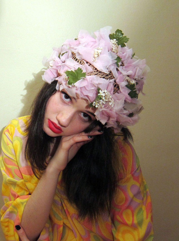 Vintage 1960s Pink Flower Hat 60s Silk Floral Festooned Cap Etsy Flower Hats Silk Flower Petals Pink Flowers