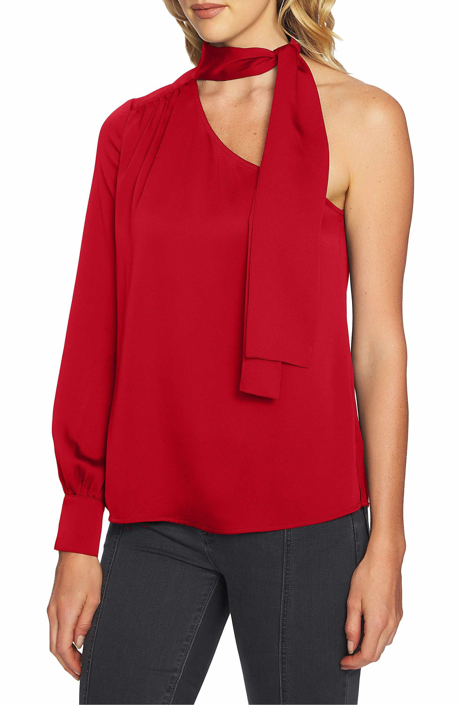 9c5bd8b1676f6  69 Cranberry 1.STATE Tie Neck One-Shoulder Blouse