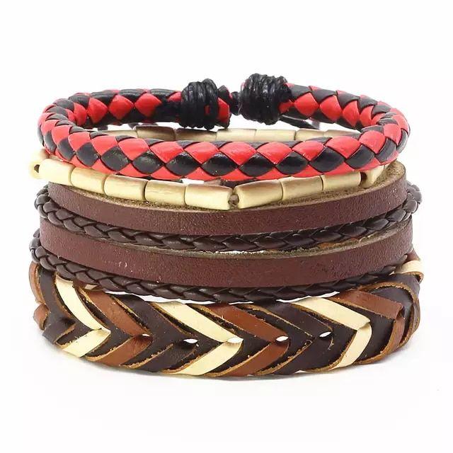 1bc04c8a1228 4 unids/set moda Vintage cuerda hecha a mano tejido cuero genuino ...