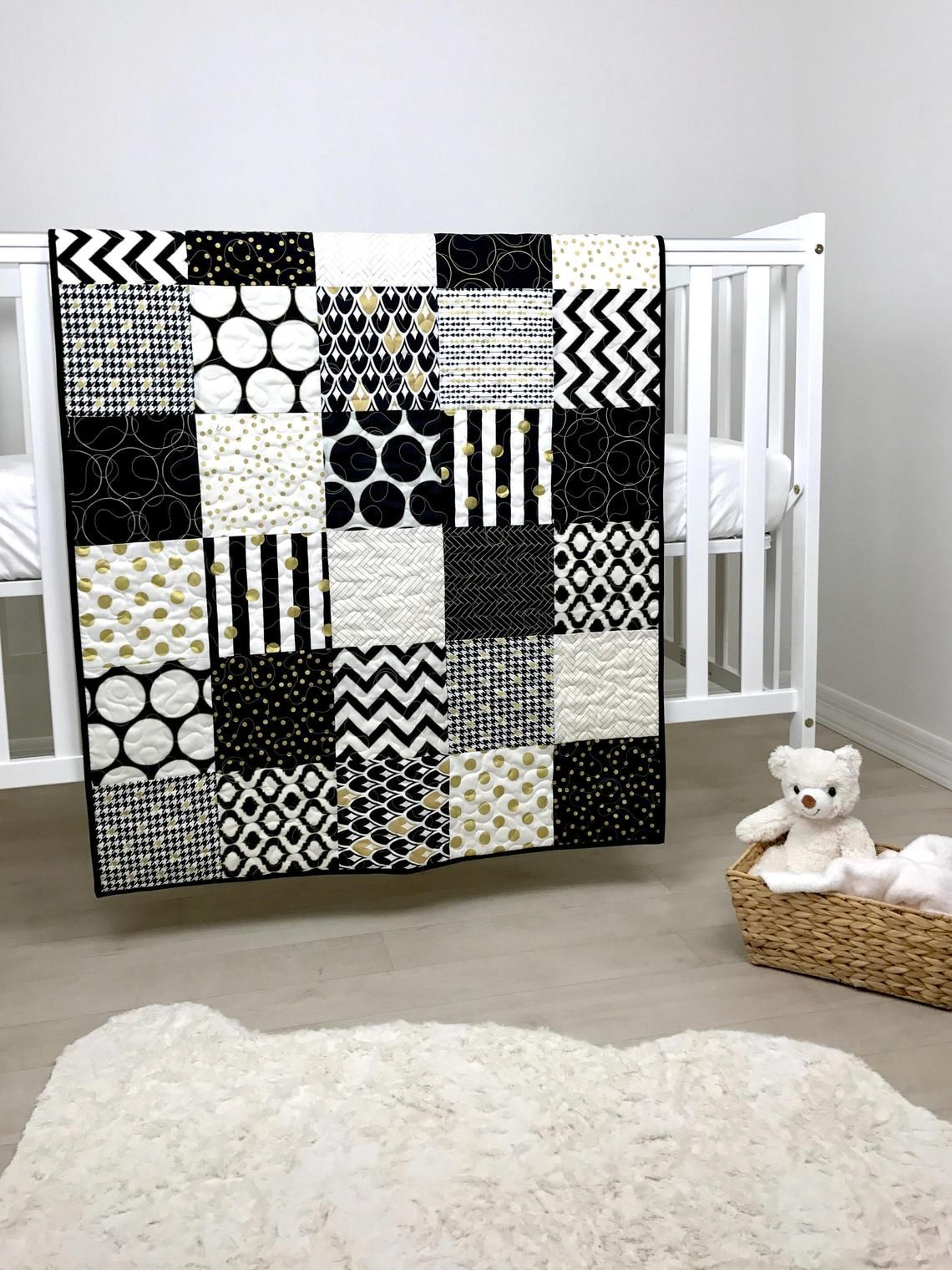 Black White And Gold Baby Quilt Black And White Nursery Quilt