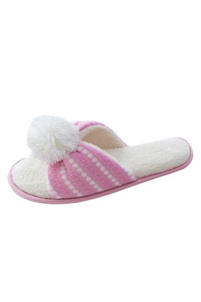 Open Toe Pompon Decoration Striped Winter Slippers - OASAP.com