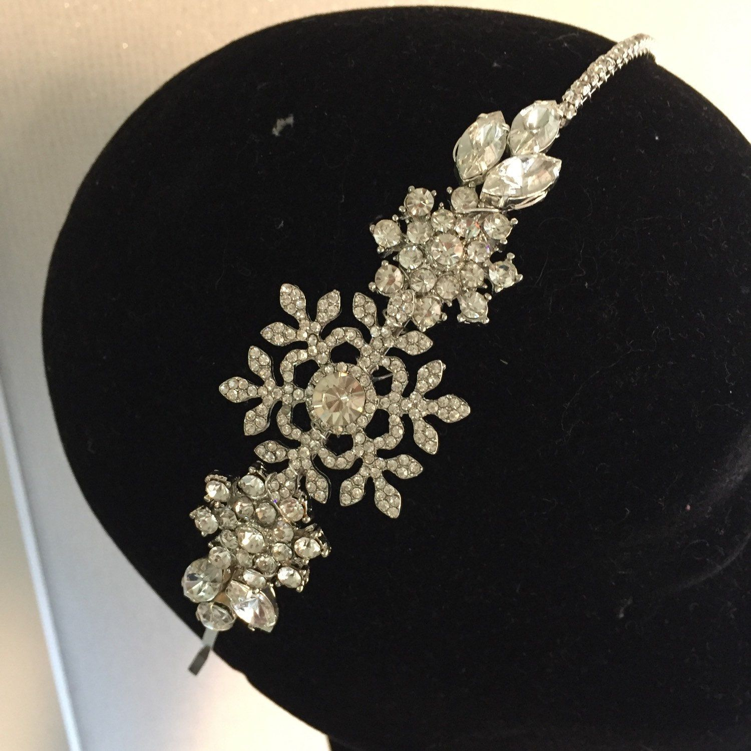 snowflake headpiece wedding headdress diamante tiara crystal headband side  tiara 35288bbd8f6