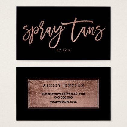 Spray Tans Logo Elegant Rose Gold Typography Black Business Card Zazzle Com In 2021 Spray Tan Business Cards Spray Tan Business Black Business Card