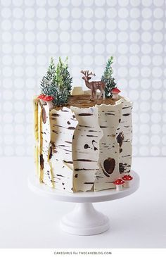 Birch Log Cake! Learn how to make this wintry, birch cake that looks just like a natural birch branch   by Cakegirls for http://TheCakeBlog.com