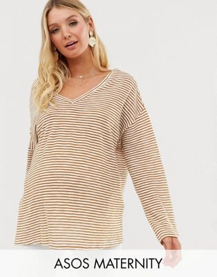 4badf35f74d15 DESIGN Maternity oversized stripe t-shirt with v back and v front in 2019 |  Summer Clothes | Asos, Asos maternity, Shirts